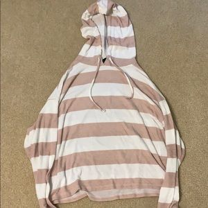 Pink and white striped hoodie